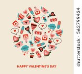 valentines day concept with... | Shutterstock .eps vector #562799434