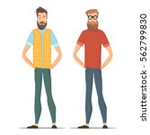 funny bearded hipsters isolated ... | Shutterstock .eps vector #562799830