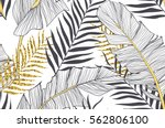 Seamless pattern with banana and golden palm leaves in vector | Shutterstock vector #562806100