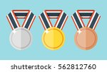 set of gold  silver and bronze... | Shutterstock .eps vector #562812760