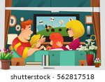 a vector illustration of family ... | Shutterstock .eps vector #562817518
