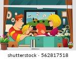 a vector illustration of family ... | Shutterstock .eps vector #562817518