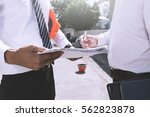 architect and engineer inspect... | Shutterstock . vector #562823878