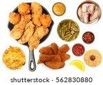 chicken tenders  hush puppies ... | Shutterstock . vector #562830880