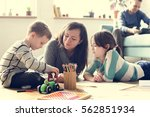 family spend time happiness... | Shutterstock . vector #562851934