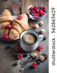 coffee  croissants with... | Shutterstock . vector #562865629
