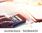 close up of man calculate with... | Shutterstock . vector #562866424