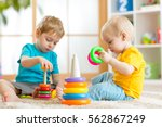 children playing together.... | Shutterstock . vector #562867249