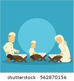 muslim family reading quran | Shutterstock .eps vector #562870156