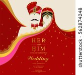 indian wedding invitation card... | Shutterstock .eps vector #562874248
