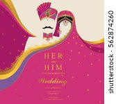 indian wedding invitation card... | Shutterstock .eps vector #562874260