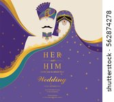 indian wedding invitation card... | Shutterstock .eps vector #562874278