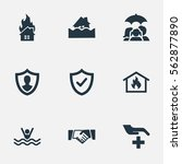set of 9 simple safeguard icons.... | Shutterstock .eps vector #562877890