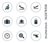 set of 9 simple airport icons.... | Shutterstock .eps vector #562878508
