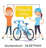 festival of cycling for health. ... | Shutterstock .eps vector #562879444