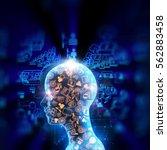 virtual human 3dillustration on ... | Shutterstock . vector #562883458