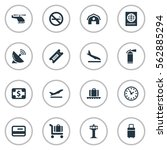 set of 16 simple airport icons. ...   Shutterstock .eps vector #562885294