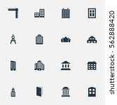 set of 16 simple construction... | Shutterstock .eps vector #562888420