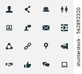 set of 16 simple social icons.... | Shutterstock . vector #562892320