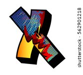 letter x filled with comic book ... | Shutterstock .eps vector #562901218