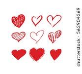 red brush stroke hearts set.... | Shutterstock .eps vector #562904269