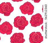 Stock vector seamless pattern with red roses on white background stock vector 562912360