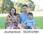 portrait lovely happy family... | Shutterstock . vector #562921984