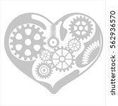 mechanism heart   cog system... | Shutterstock .eps vector #562936570