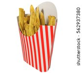 french fries in a striped... | Shutterstock . vector #562937380