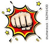 punching hand with clenched... | Shutterstock .eps vector #562941430