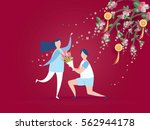 lovely young joyful couple... | Shutterstock .eps vector #562944178