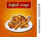 buffalo wings on a plate. | Shutterstock .eps vector #562951078