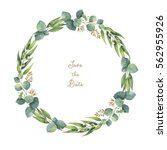 Watercolor hand painted round wreath with eucalyptus leaves and branches. Healing Herbs for cards, wedding invitation,  save the date or greeting design. Summer flowers with space for your text.