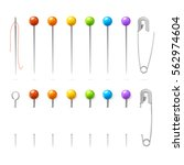 color sewing needles or pin set ... | Shutterstock .eps vector #562974604