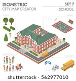 flat 3d isometric school and... | Shutterstock .eps vector #562977010
