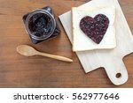toast with jam in shape of... | Shutterstock . vector #562977646