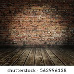 old room with brick wall ... | Shutterstock . vector #562996138