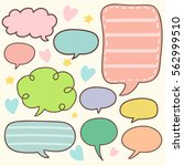 set of cute chat   talk  ... | Shutterstock .eps vector #562999510