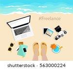 freelance. desktop with mobile  ... | Shutterstock .eps vector #563000224