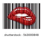barcode strip makeup of biting... | Shutterstock .eps vector #563000848