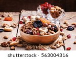 healthy food  nuts and dried... | Shutterstock . vector #563004316