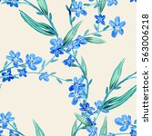 forget me not flowers seamless... | Shutterstock . vector #563006218