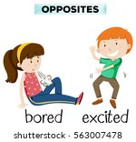 opposite word for bored and... | Shutterstock .eps vector #563007478