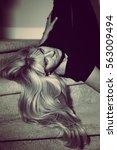woman with blond long hair...   Shutterstock . vector #563009494