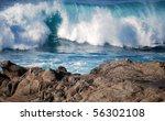 Blue Waves Crashing Near A...