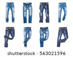 set of jeans trousers isolated... | Shutterstock . vector #563021596