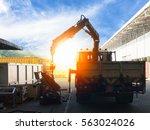 mobile crane lifting generator  ...   Shutterstock . vector #563024026