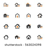houses icon set for web sites... | Shutterstock .eps vector #563024398