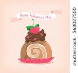 brown roll cake in happy...   Shutterstock .eps vector #563027500