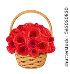 Vector Basket With Red Roses...